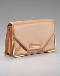 Rachel Zoe | Beige Charlotte Patent Leather Envelope Clutch | Lyst