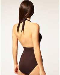Ultimo - Brown A D Plunge Padded Swimsuit With Removable Gel - Lyst