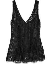 Alberta Ferretti | Black Sequined Tulle Top | Lyst