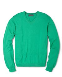 Brooks Brothers - Green Supima Vneck Sweater for Men - Lyst