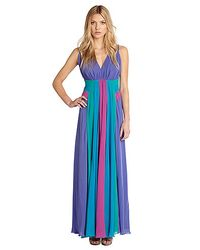 Nicole Miller - Blue Georgette Multi Color Gown - Lyst