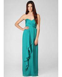 Nicole Miller | Green Silk Chiffon Strapless Gown | Lyst