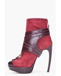 Alexander McQueen   Red Oxblood Stirrup Buckle Boot   Lyst