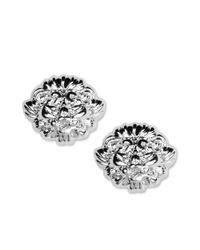 Anne Klein - Metallic Silver Tone Lion Stud Earrings - Lyst