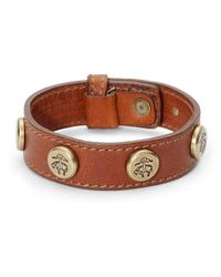 Brooks Brothers - Brown Leather Bracelet with Golden Fleece Rivets - Lyst