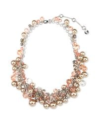 Givenchy - Metallic Silver Tone Blush Glass Pearls and Glass Cubic Zirconia Collar Necklace - Lyst