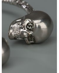 Alexander McQueen | Black Twin Crystal Skull Faceted Cuff | Lyst