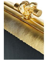 Bottega Veneta - Black Hand Painted Waxed Leather Knot Clutch - Lyst