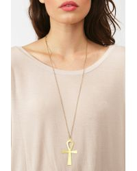 Nasty Gal - Metallic Ankh Necklace - Lyst