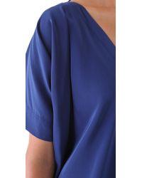 Vince | Blue V Neck Silk Dress | Lyst