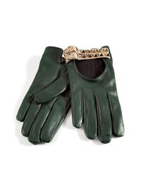 Valentino | Royal Green Studded Driving Gloves | Lyst