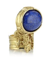 Saint Laurent - Blue Arty Oval Ring - Lyst