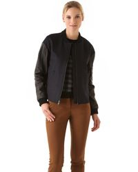 A.L.C. | Blue Wool Leather Lennon Bomber Jacket | Lyst
