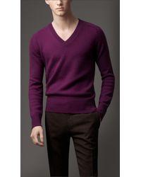 Burberry - Blue Vneck Cashmere Sweater for Men - Lyst