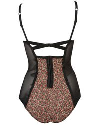 TOPSHOP - Black Floral Chiffon Body - Lyst