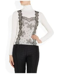 Valentino | Beige Lace Detailed Wool Blend Turtle Neck Sweater | Lyst