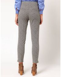 ASOS Collection | Gray Super Skinny Trousers in Herringbone Print | Lyst