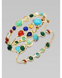 Ippolita - Metallic Semi-precious Multi-stone Station Oval Bangle Bracelet - Lyst