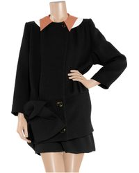 Miu Miu - Black Double-collar Wool-blend Crepe Coat - Lyst
