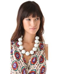 Kenneth Jay Lane | White Large Ceramic Bead Necklace | Lyst