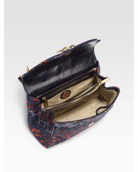 Tory Burch - Blue Printed Canvas Shoulder Bag - Lyst