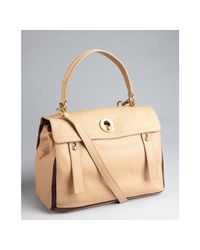 Saint Laurent | Beige Colorblock Calfskin Muse Two Satchel | Lyst