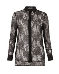AllSaints - Black Shield Lace Shirt - Lyst