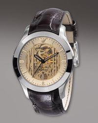 Emporio Armani | Meccanico Automatic Watch, Brown for Men | Lyst