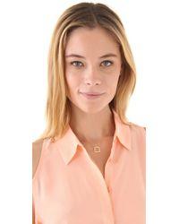 Jennifer Zeuner | Metallic Small Open Square Necklace | Lyst