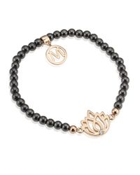 Melissa Odabash | Black Rose Gold Lotus Semiprecious Bracelet | Lyst
