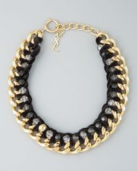 Saint Laurent - Black Velvet Chain Necklace - Lyst