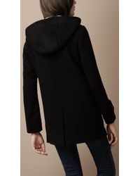 Burberry Brit - Black Wool Duffle Coat - Lyst