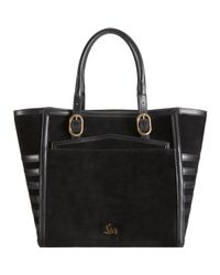 Christian Louboutin | Black Farida Suede Leather Tall Shopper Tote | Lyst