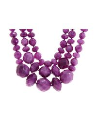 kate spade new york | Purple Give It A Swirl Triple Row Necklace | Lyst