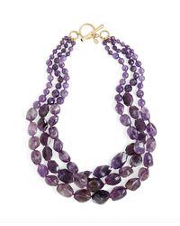 Brooks Brothers - Purple Amethyst Threerow Necklace - Lyst