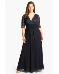 JS Collections | Blue Lace Chiffon Dress | Lyst