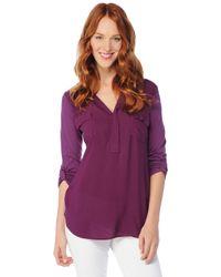 Splendid | Purple 34 Sleeve Shirting Top | Lyst