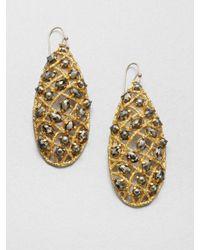 Alexis Bittar | Metallic Pyrite Woven Teardrop Earrings | Lyst