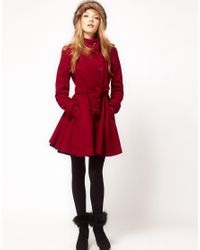 ASOS Collection - Purple Fit and Flare Belted Coat - Lyst