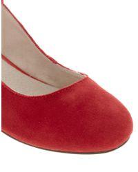 ASOS - Red Asos Laguna Suede Ballet Flats with Metallic Block Heel - Lyst