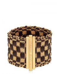 Carolina Bucci | Metallic Woven Checked Leather Bracelet | Lyst