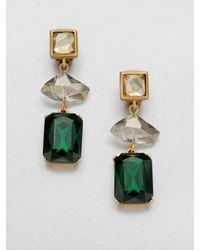 Oscar de la Renta | Green Faceted Clipon Earrings | Lyst