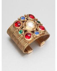 Oscar de la Renta | Multicolor Cabochon Cluster Cuff Bracelet | Lyst