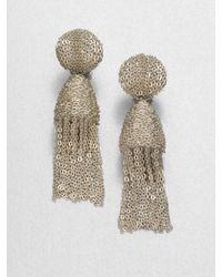 Oscar de la Renta - Natural Short Tassel Clipon Earrings - Lyst