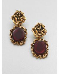 Oscar de la Renta | Purple Ruffle Clipon Drop Earring | Lyst