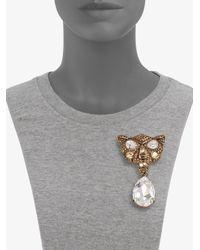 Oscar de la Renta | Metallic Swarovski Crystal Panther Convertible Necklace | Lyst