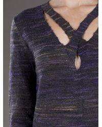 Theyskens' Theory   Blue X Neck Sweater   Lyst