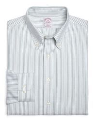 Brooks Brothers | Green Non-Iron Regular Fit Alternating Stripes Sport Shirt for Men | Lyst