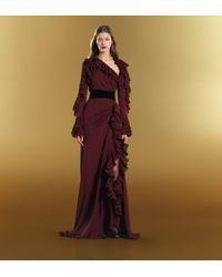 Gucci | Black Rose Opentoe High Heel Velvet Sandal | Lyst
