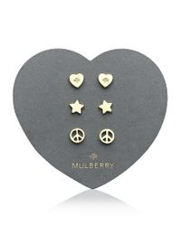 Mulberry | Metallic Love and Peace Earrings | Lyst
